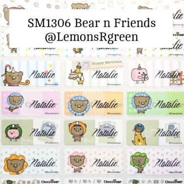 SM1306 Bear n Friends Waterproof Name Stickers