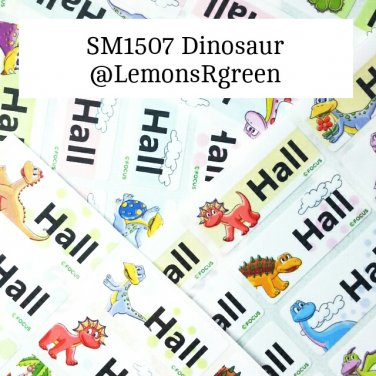SM1507 Dinosaur Waterproof Name Stickers Jurrasic