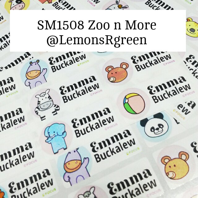 SM1508 Zoo Animal n More Waterproof Name Stickers