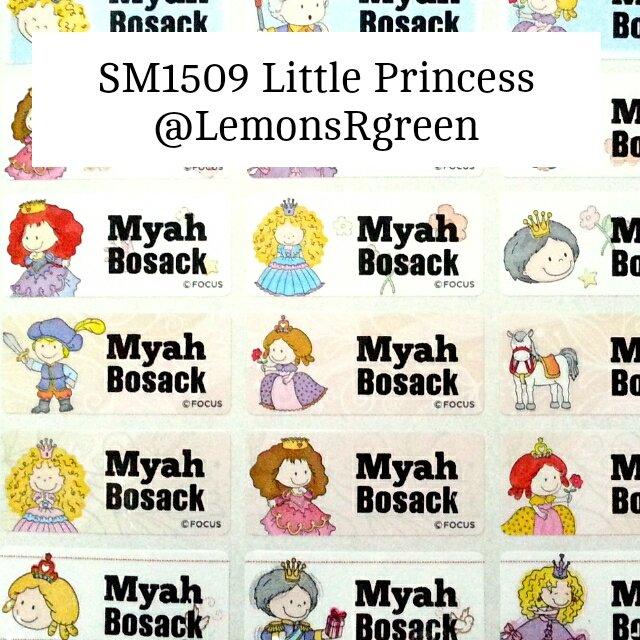 SM1509 Little Princess Waterproof Name Stickers Fairytale