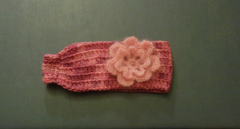 M Women's Teens Earwarmers/Headband Pink Multicolor w/Pink Flower