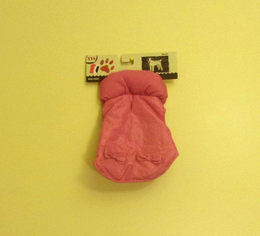 XXS Dept. 08 Dog Coat Pink w/Bows
