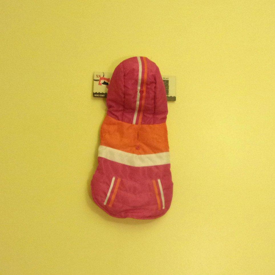 XS Dept. 08 Dog Coat Pink w/Orange and White