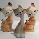 Vintage Orange White Striped Cat Kittens Figurine Closed Eyes Smiling