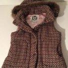 BoHo CHIC BB Dakota Faux Fur Hoodie Vest Coat Outerwear Jacket M