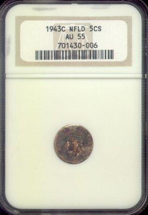 1943-C AU-55 Newfoundland, Silver Five Cent Coin