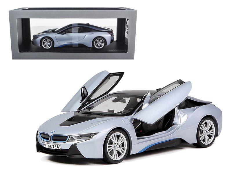 BMW i8 Ionic Silver/Matt Blue 1/18 Diecast Model Car by Paragon