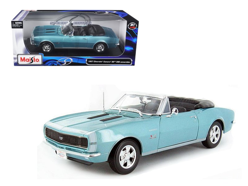 1967 Chevrolet Camaro SS 396 Convertible Turquoise 1/18 Diecast Model Car by Maisto