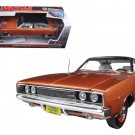 1968 Dodge Charger R/T Bronze Poly with Black Vinyl Top Limited 1/18 Diecast Model Car by Autoworld