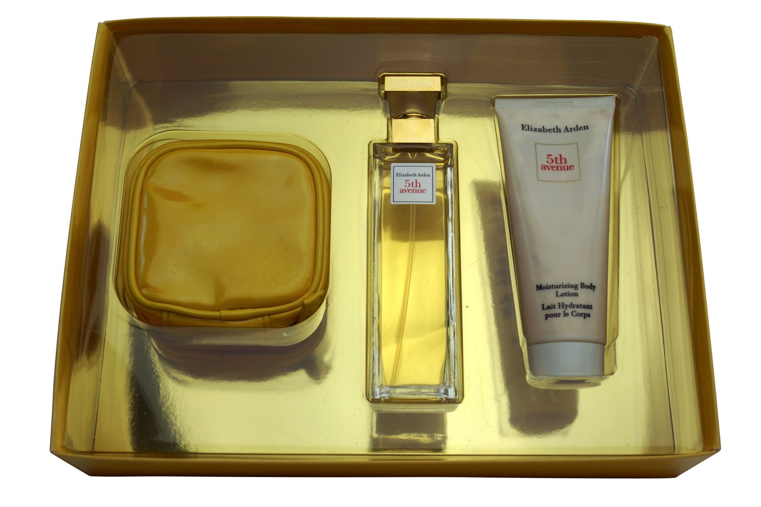 Elizabeth Arden 5th Ave EDP 2.5 oz + Body Lotion 3.3 oz + Makeup Pouch