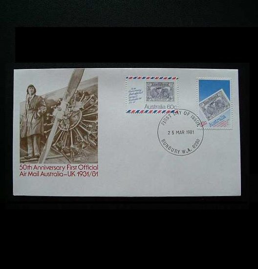 AUSTRALIA 50th ANNIVERSARY FIRST AIR MAIL FIRST DAY COVER 1981
