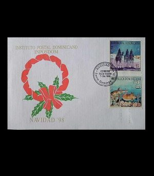 DOMINICAN REPUBLIC  CHRISTMAS ISSUE STAMPS FIRST DAY COVER 1998