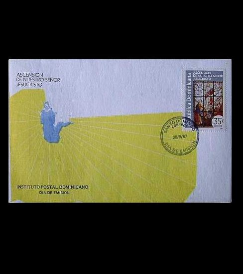 DOMINICAN REPUBLIC ASCENSION DE NUESTRO SENOR JESUCRISTO STAMP FIRST DAY COVER 1987