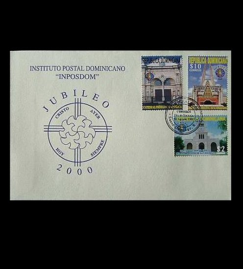 DOMINICAN REPUBLIC  HOLY YEAR STAMPS FIRST DAY COVER 2000
