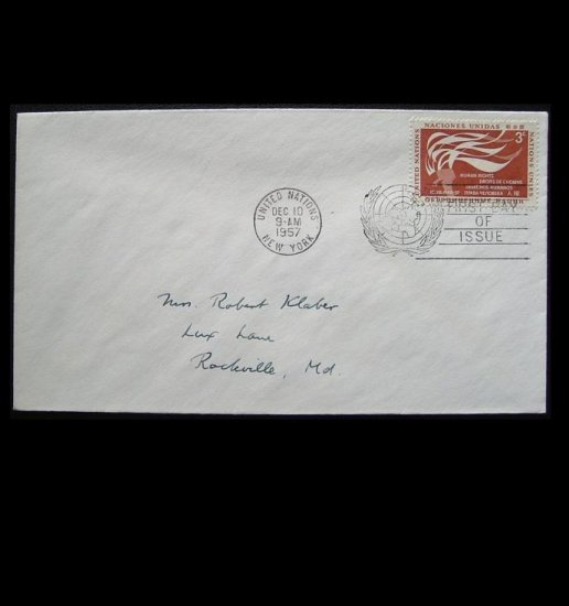 UNITED STATES UNITED NATIONS 1957 STAMP FIRST DAY COVER