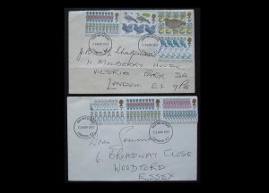 UNITED KINGDOM TWELVE DAYS OF CHRISTMAS SONG FIRST DAY COVERS 1977