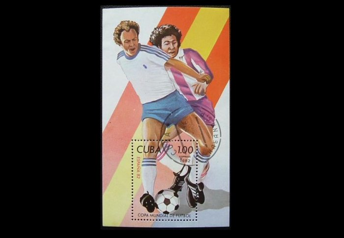CUBA ESPANA SPAIN 1982 FIFA FOOTBALL WORLD CUP STAMP SOUVENIR MINIPAGE