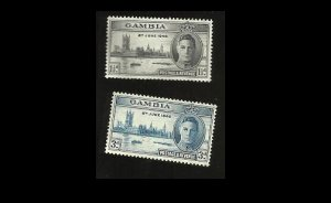 GAMBIA VICTORY WORLD WAR II STAMPS 1946