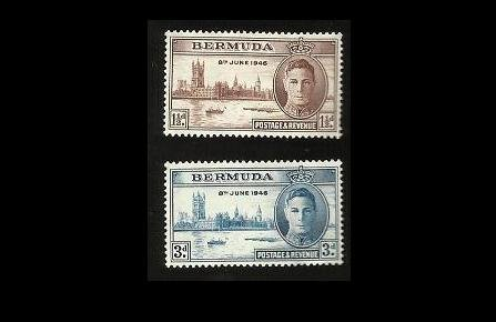 BERMUDA VICTORY WORLD WAR II STAMPS 1946