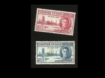 BRITISH GUIANA VICTORY WORLD WAR II STAMPS 1946