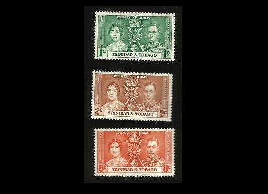 BRITISH TRINIDAD AND TABAGO GEORGE VI CORONATION STAMPS 1937