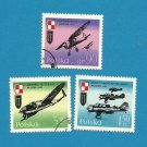 POLAND POLISH  AIRFORCE AIRCRAFT STAMPS 1971