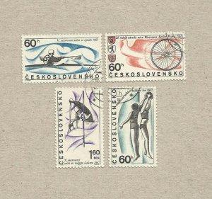 CZECHOSLOVAKIA  SET OF FOUR SPORT STAMPS 1967