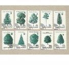 ROMANIA SET OF TEN TREE STAMPS 1994