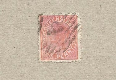 AUSTRALIA QUEENSLAND COLONY 1895  VICTORIAN ONE PENNY STAMP