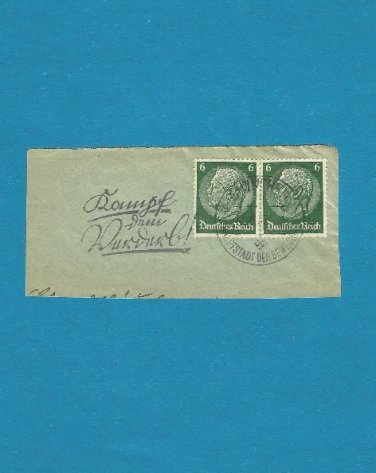 GERMANY HINDENBURG STAMPS NAZI SWASTIKA POSTMARK 1937