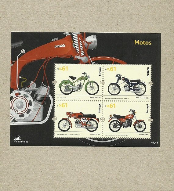 PORTUGAL STAMPS MOTORCYCLES IN PORTUGAL  2007 QUIMERA CINAL SIS CASAL