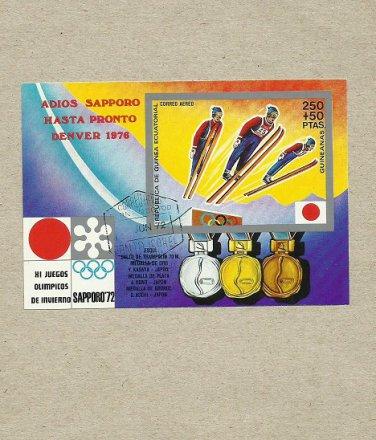 EQUATORIAL GUINEA SAPPORO OLYMPICS SKI JUMPING STAMP MINISHEET BLOC 1972