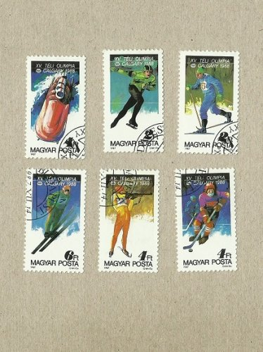 HUNGARY CALGARY WINTER OLYMPIC STAMPS 1988