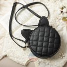 Stylish Leather Women Messenger Cat Ears Shoulder Bag Round Handbag Small Purse