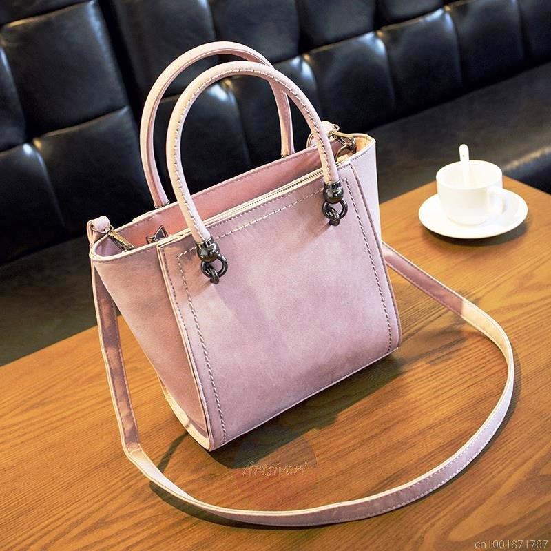 Artsivaris NEW Women Leather Tote Messenger Shoulder Bag Medium Travel Purse