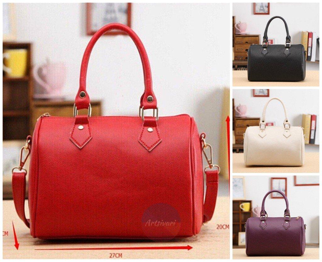 Stylish Women Tote Leather Barrel Handbag Casual Messenger Travel Shopper Bag