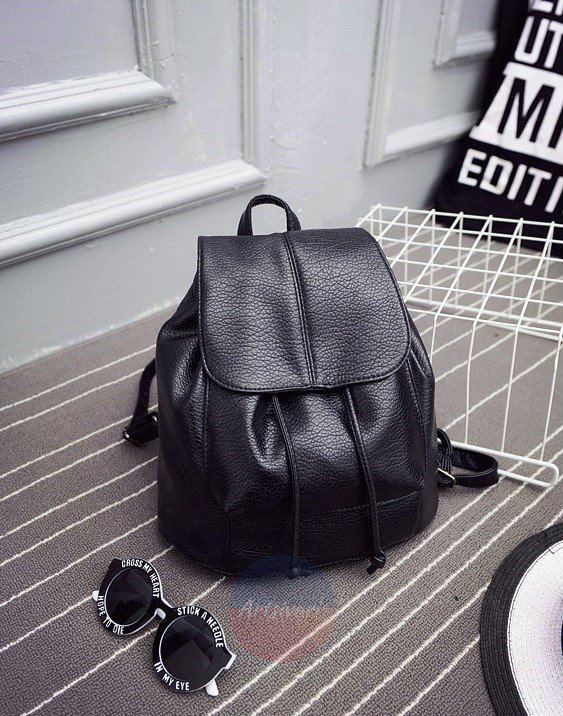 Artsivaris NEW Women Vintage Black Leather Backpack School Bag Travel Rucksack