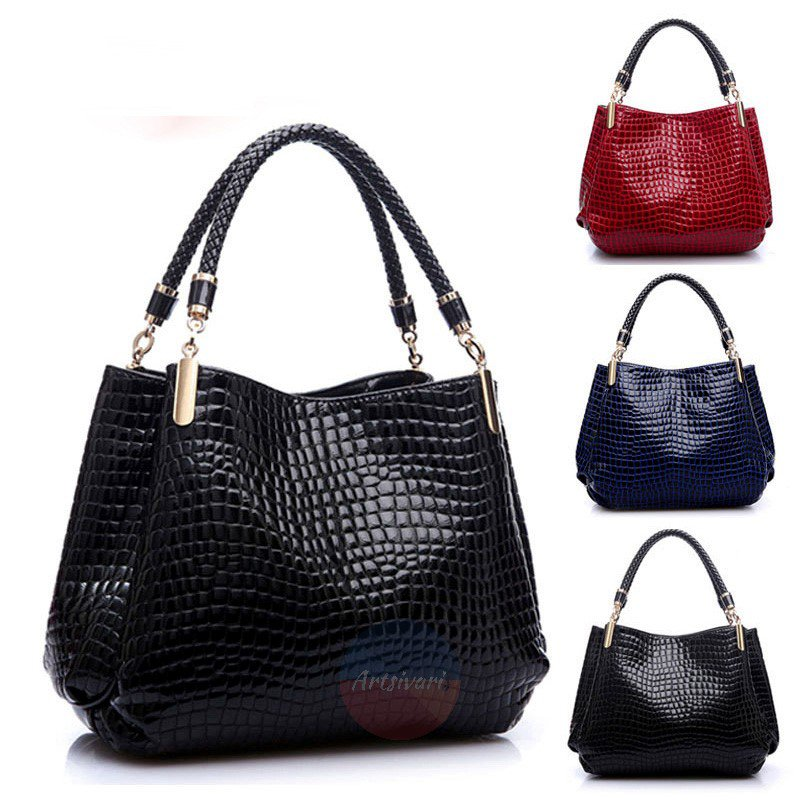 Stylish Leather Handbag Women Shoulder Bag Evening Purse Croco Embossed Tote Bag