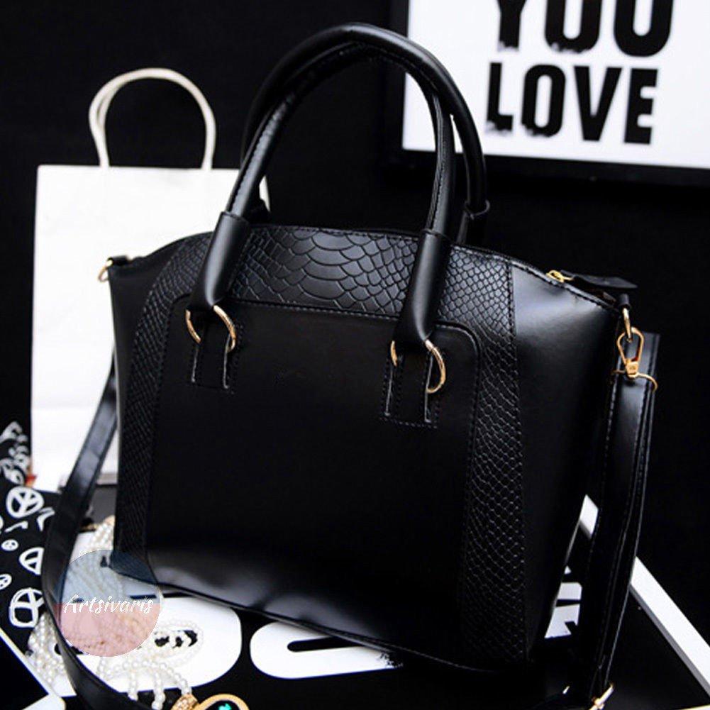 Stylish Women Satchel Crossbody Shoulder Bag Leather Tote Handbag Black Purse