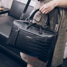 Elegant Big Vacation Handbag Black Leather Messenger Women Bag Travel Purse Tote