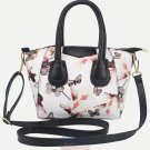 Artsivaris Women White Floral Leather Shoulder Bag Flower Messenger Travel Tote