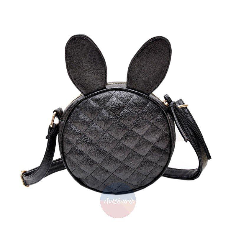 Artsivaris Women Rabbit Bunny Ears Leather Handbag Black Round Messenger Bag