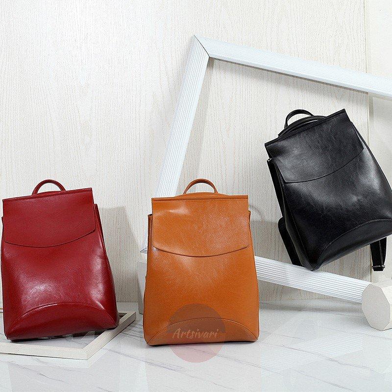 Artsivaris Vintage Leather Backpack School College Bag Casual Travel Satchel