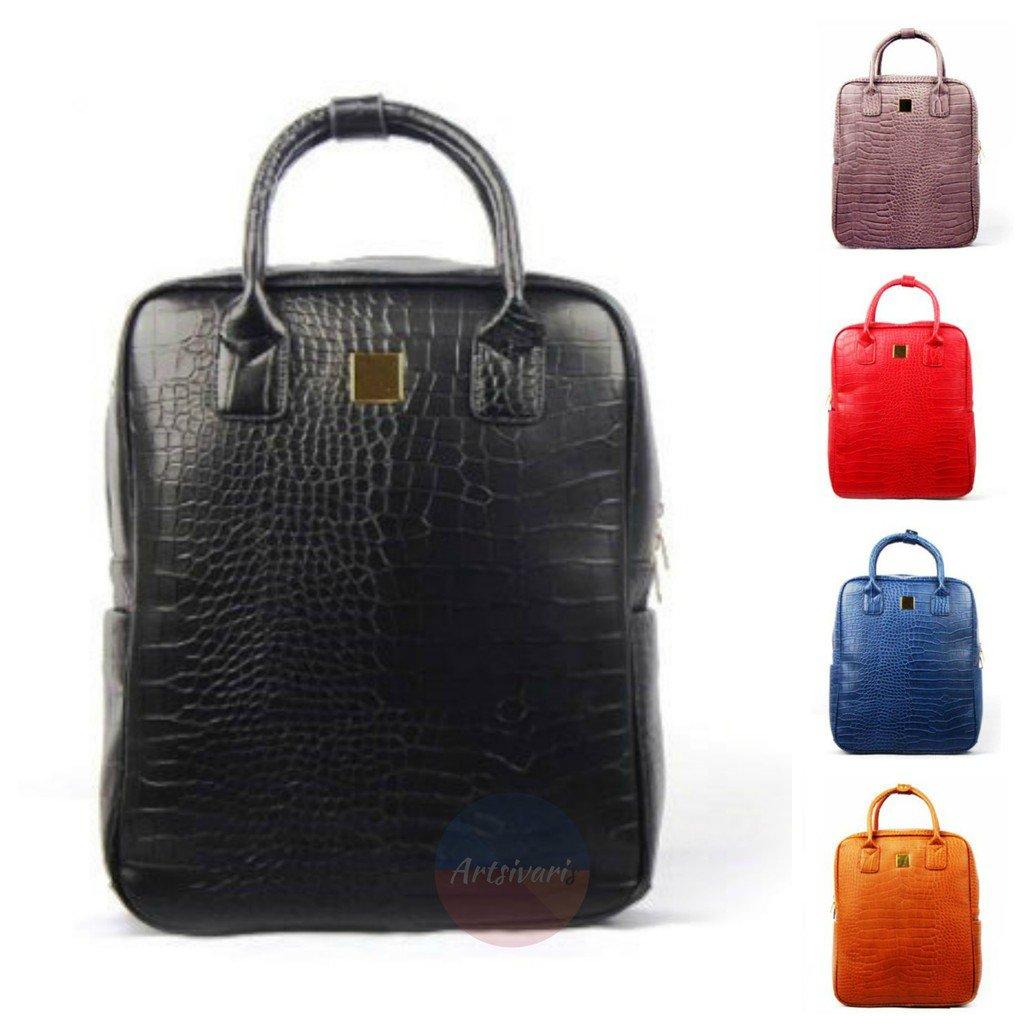 Artsivaris Women Leather Bag Travel Satchel Handbag School Backpack Rucksack