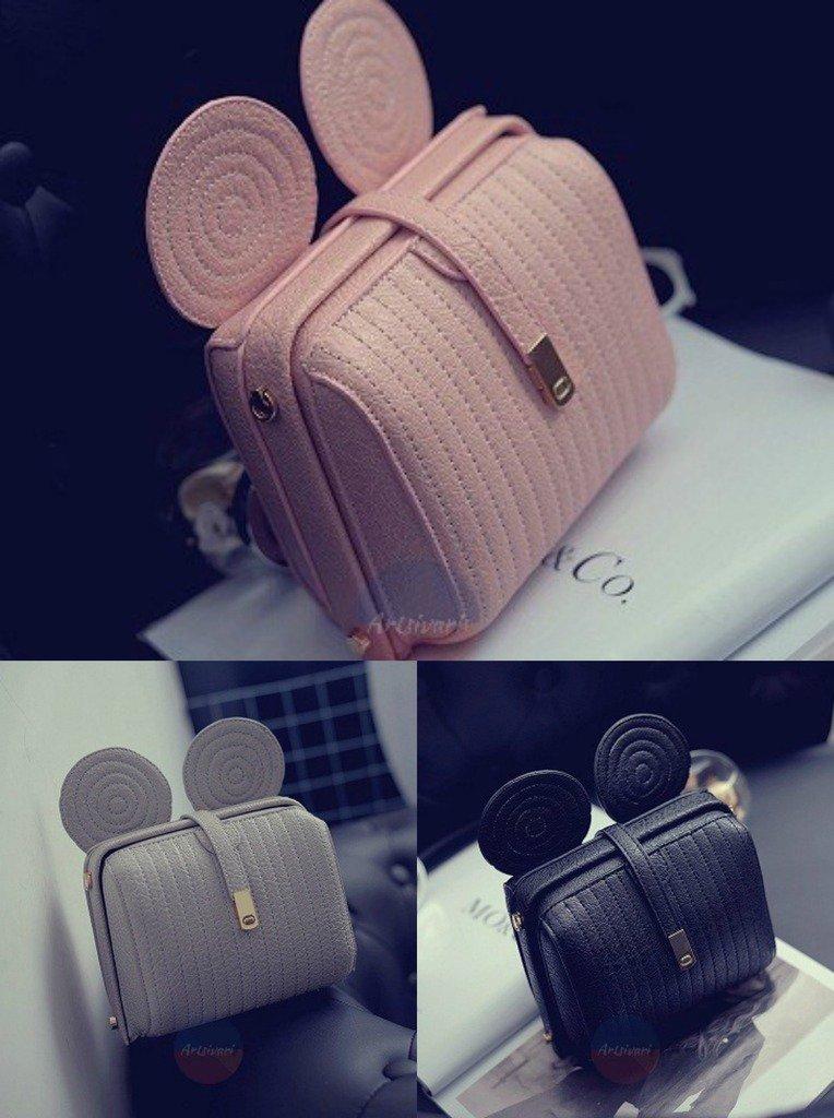 Artsivaris Women Mouse Ears Leather Handbag Purse Casual Satchel Messenger Bag