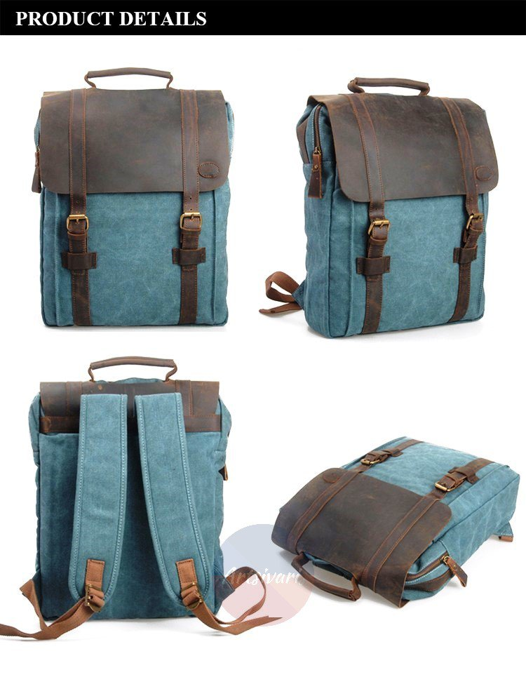 "Artsivaris New Vintage Large Canvas Leather Men Women Backpack 15"" Laptop Bag"