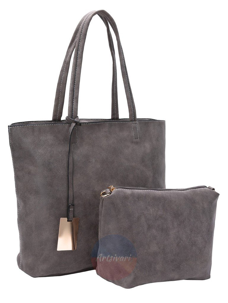 Artsivaris Grey Faux Suede 2pcs Set Tote Messenger Casual Large Shoulder Bag