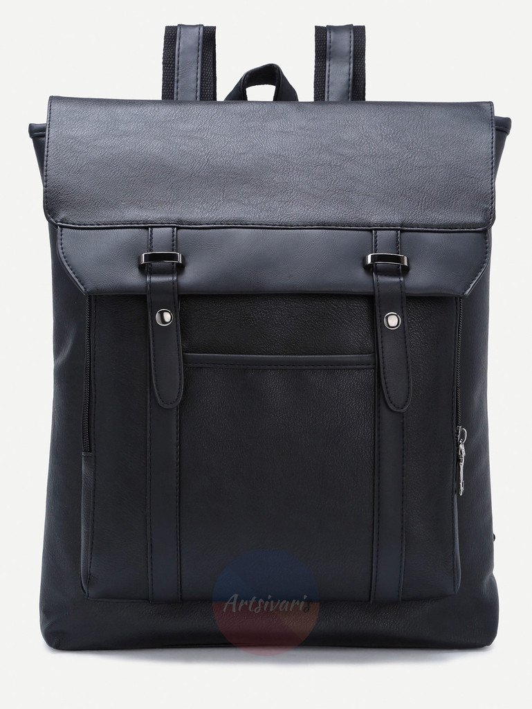 Vintage Black Leather Backpack Flap Buckle Shoulder Bag School Travel Rucksack