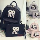 Stylish 2pc Owl Design Bag Leather Rucksack Travel School Casual Women Backpack