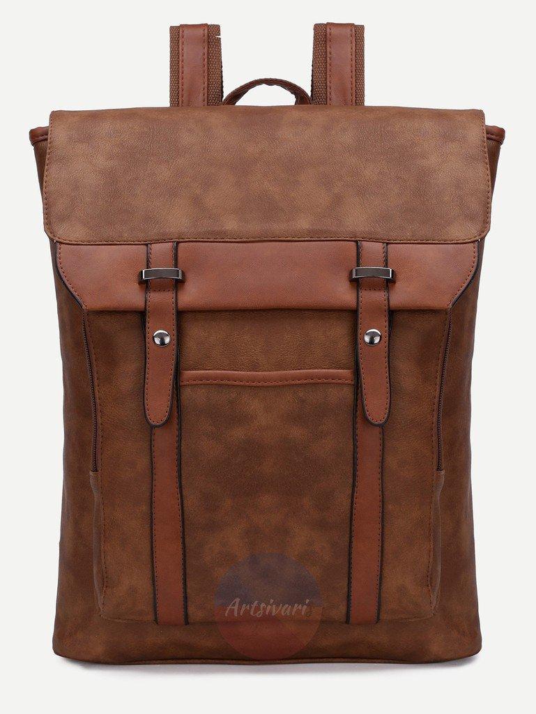 Vintage Brown Leather Backpack Flap Buckle Shoulder Bag School Travel Rucksack